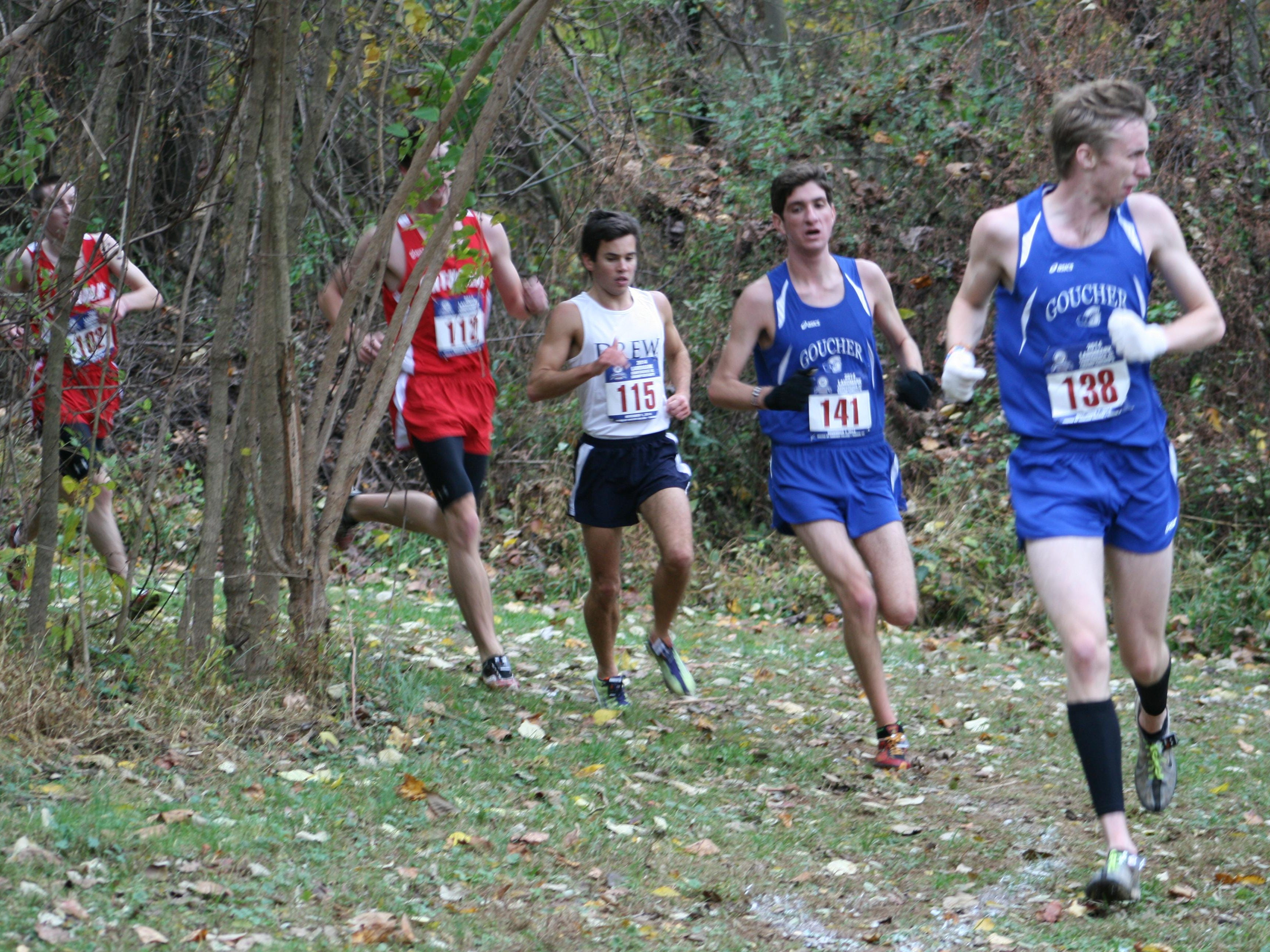 Niklas Andersen, the lone male member of the Drew cross country team, competes in a meet last fall.