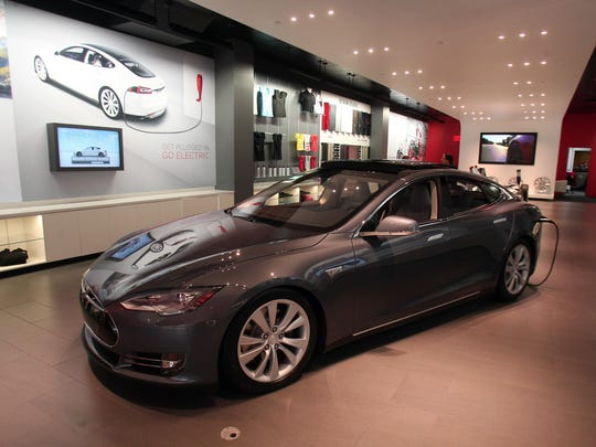 A Tesla model S in the showroom at their store in the Short Hills Mall.