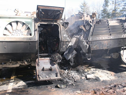 burned vehicles.