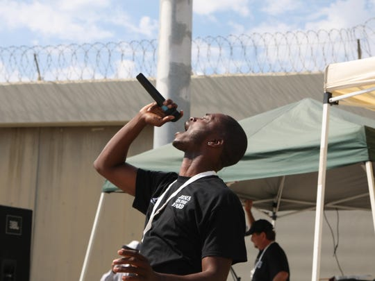 Music artist Transparent performs at Operation Starting Line held at Salinas Valley State Prison on Friday.