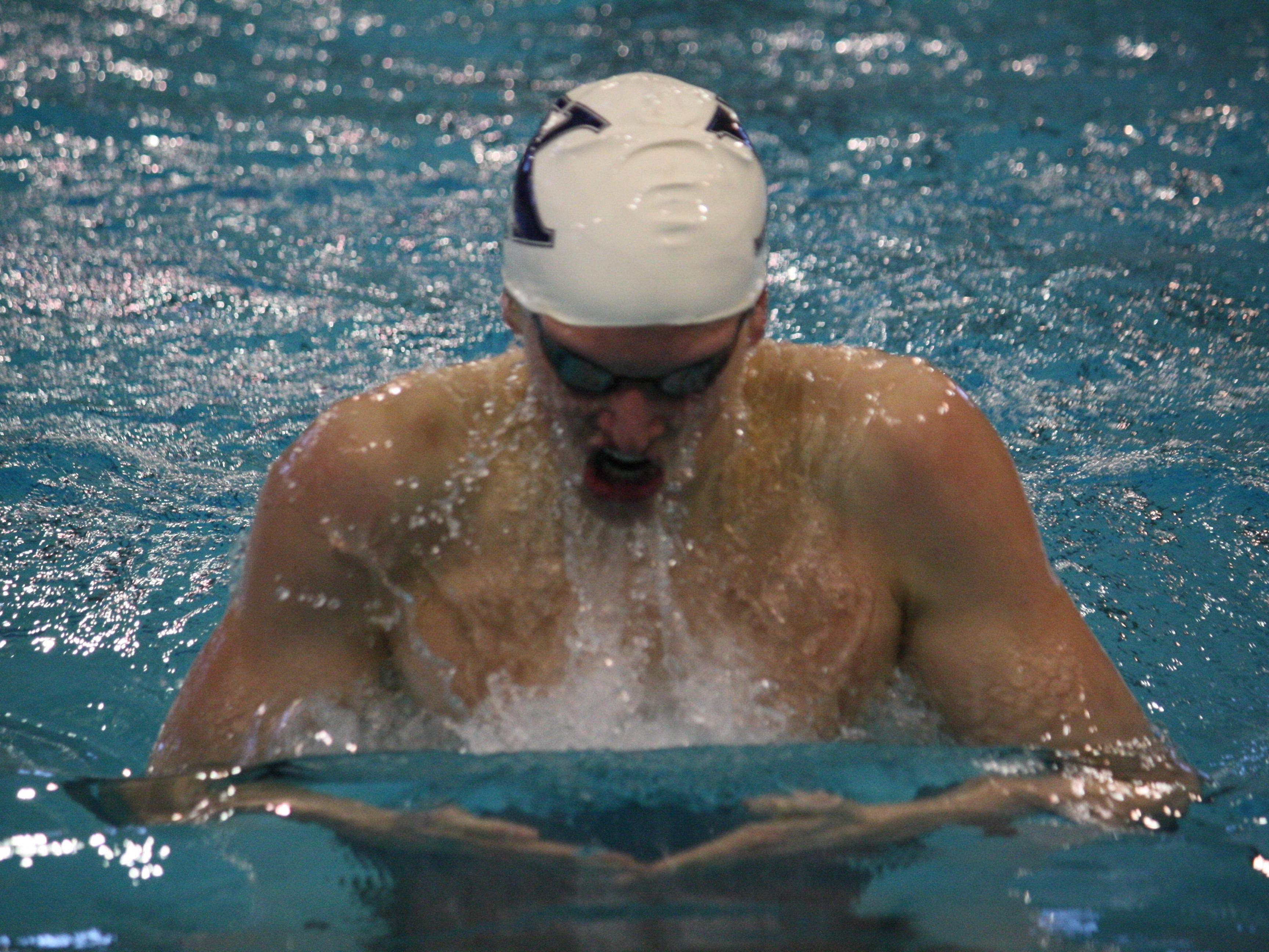 St. Xavier's Grant House competes in the breaststroke at the Southwest Ohio Classic Jan. 17 at Miami University.