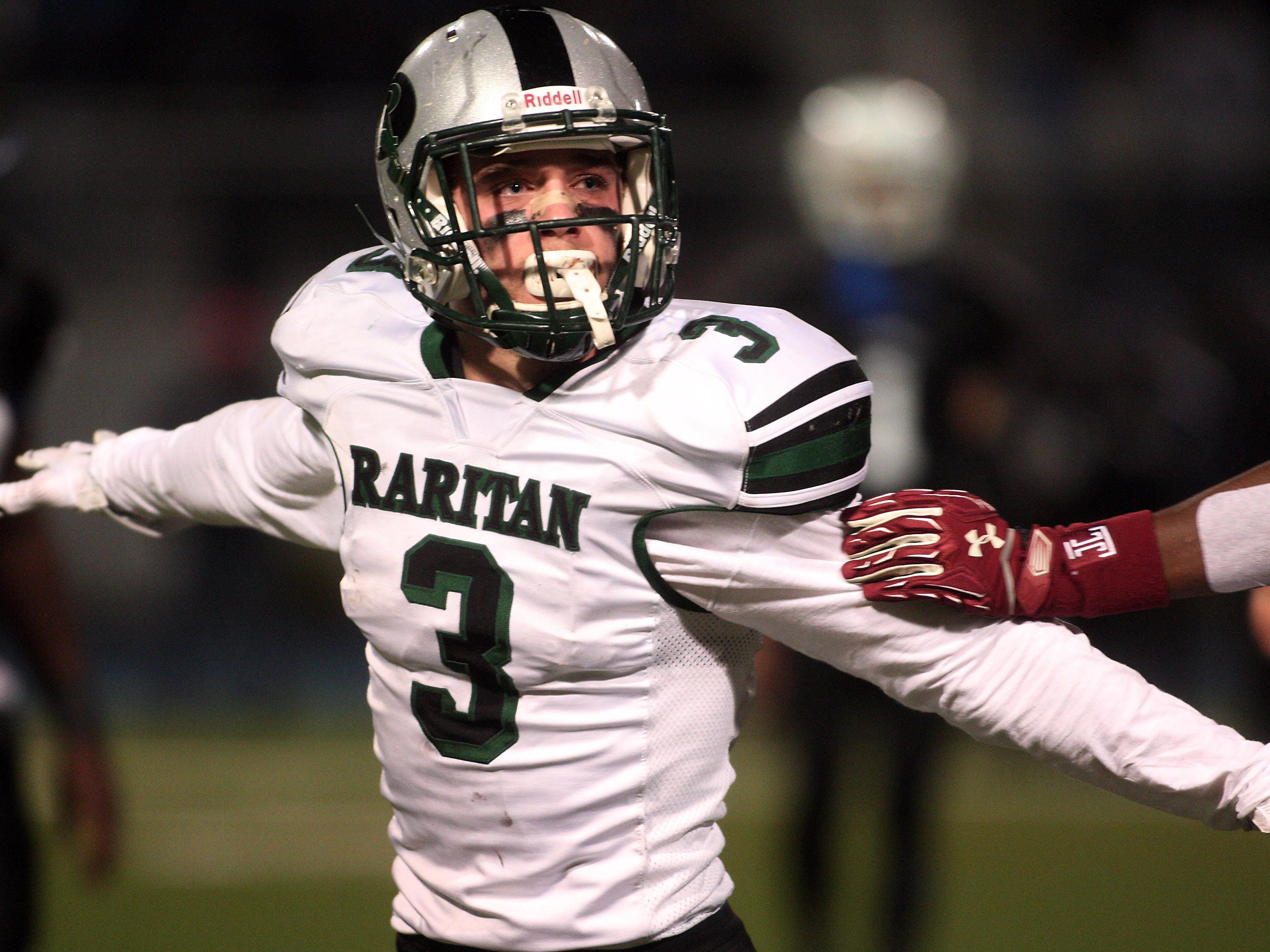 Raritan's Nicholas Pasquin celebrates after stopping a Lincoln receiver for a loss during their NJSIAA Central, Group Two Championship game at Kean University Alumni Stadium. December 5, 2015, Union, NJ.