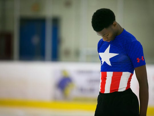 Glasgow High senior Emmanuel Savary practices at the Gold Arena Ice Skating Rink.