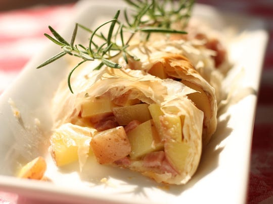 Cheesy Ham and Rosemary Red Potato Strudel.