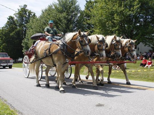 Horses trod along in the 2011 Sheldon parade.