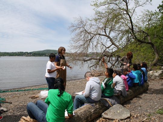 Poughkeepsie School District students spent time learning how to conduct water quality tests on the Hudson River at Scenic Hudson's Long Dock Park in Beacon.