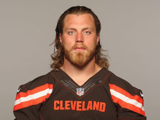 FILE - This 2016 file photo shows Paul Kruger of the Cleveland Browns NFL football team. The Browns have released linebacker Paul Kruger, a startling move in another step in the team's youth movement. Kruger started 46 games and made 18 sacks in three seasons for Cleveland and was considered one of the team's leaders. (AP Photo/File)