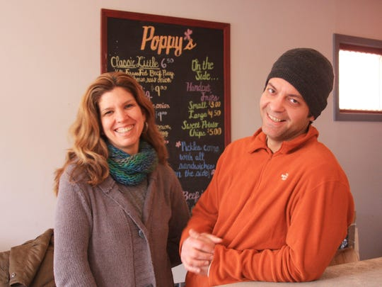Paul and Jennifer Yeaple, of Poppy's Burgers and Fries in Beacon, are pictured in this file photo.