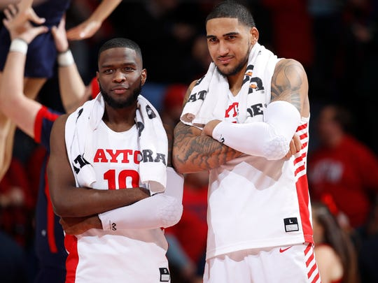 DAYTON, OH - JANUARY 22: Obi Toppin #1 and Jalen Crutcher #10 of the Dayton Flyers react after the game against the St. Bonaventure Bonnies at UD Arena on January 22, 2020 in Dayton, Ohio. Dayton defeated St. Bonaventure 86-60. (Photo by Joe Robbins/Getty Images)