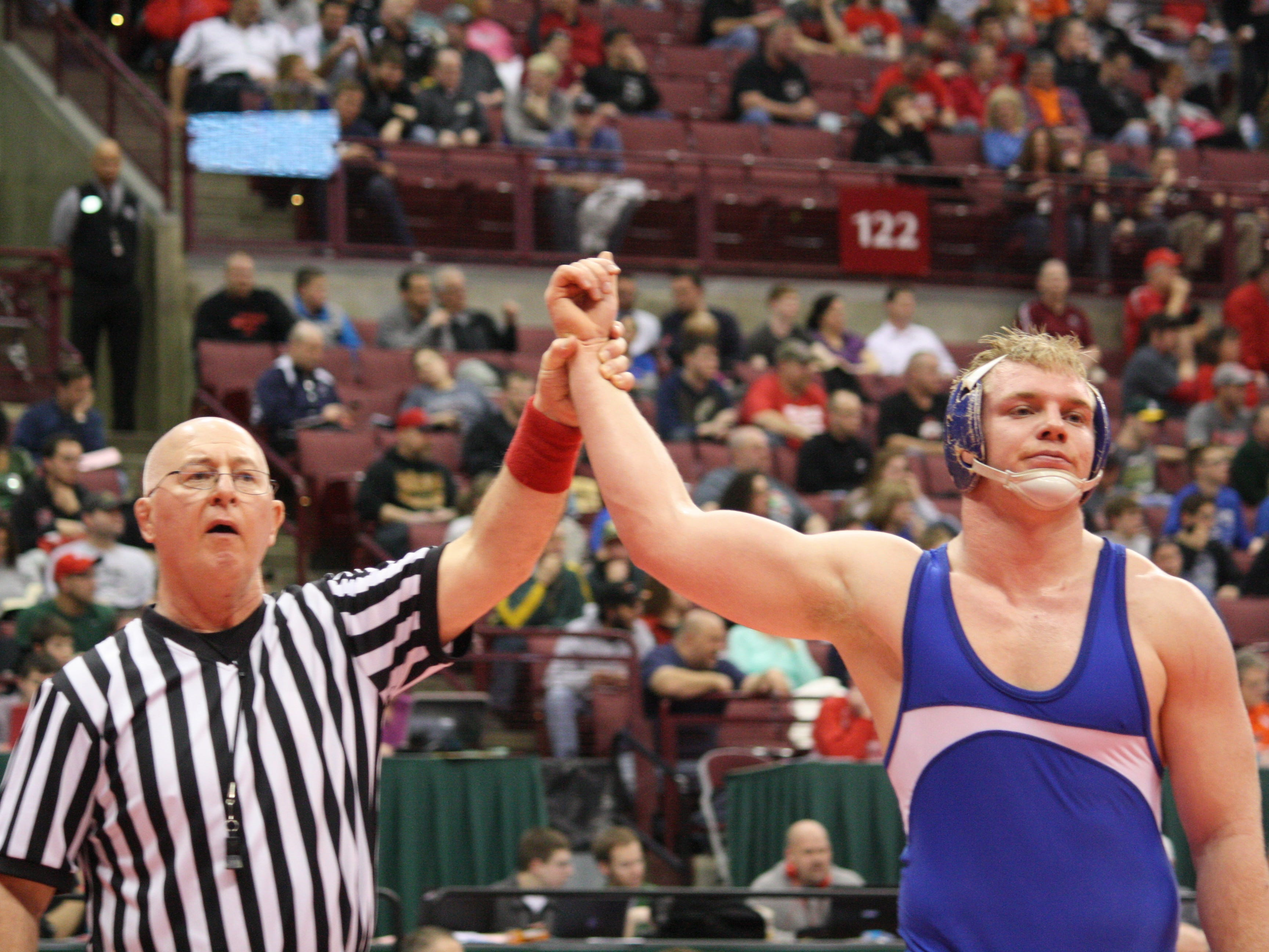 St. Xavier senior Cole Jones won his Division I semifinal at 220 pounds to make it to the state final March 13 in Columbus. On March 14, Jones won the state title 3-1 in overtime.
