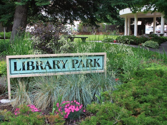 The garden and park at the library is a project of the Great Falls Flower Gr.JPG