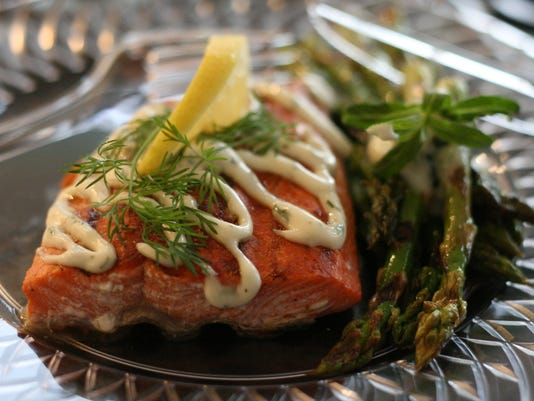 Lemon and Dill Grilled Salmon and Grilled Asparagus with Tarragon Garlic But.jpg