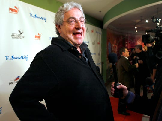 "FILE - In this Dec. 12, 2009 file photo, actor and director Harold Ramis laughs as he walks the red carpet to celebrate The Second City's 50th anniversary in Chicago. Ramis died Feb. 24, 2014. He was 69. Ramis is best known for his roles in the comedies ""Ghostbusters"" and ""Stripes."" (AP Photo/Jim Prisching, File)"