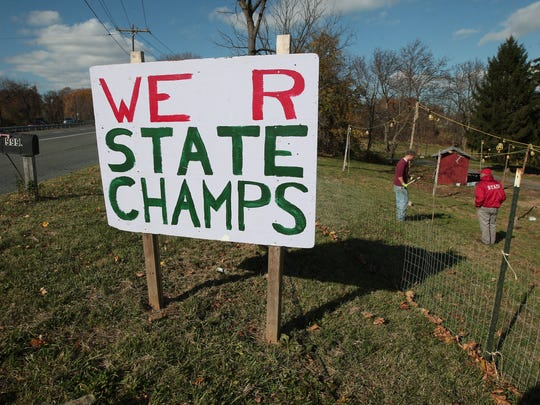 A sign on the grounds of Perfect Christmas Tree Farm in Phillipsburg. Owner John Curtis was recently named New Jersey's Christmas tree growing grand champion.