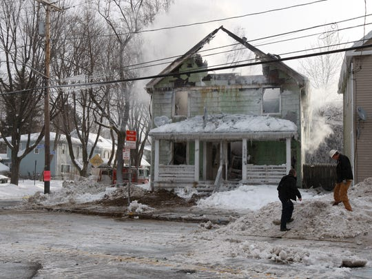 A fire destroyed a two family home oat 1912 North Goodman St. in Rochester on Feb. 23.