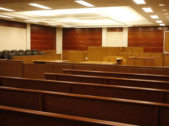 Courtroom 11 -- the largest in the newly remodeled Monterey County Courthouse north wing -- as seen from the entrance.