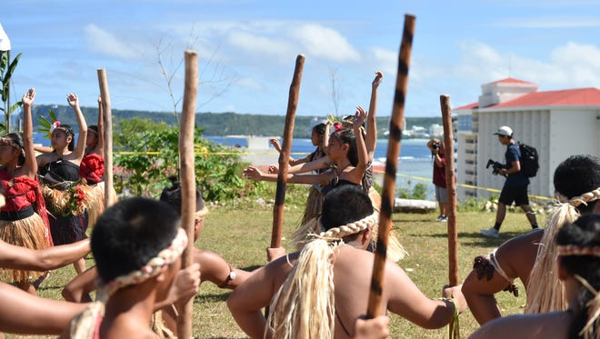 Cultural dance group Pa'a Taotao tano' perform during the 8th Gupot Fanha'aniyan Pulan Chamoru (Chamorro Lunar Calendar Festival) at Sagan Kotturan Chamoru in Tumon on Feb. 6.