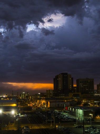 Rain and lightning hit downtown Phoenix, Ariz. on July 30, 2018.