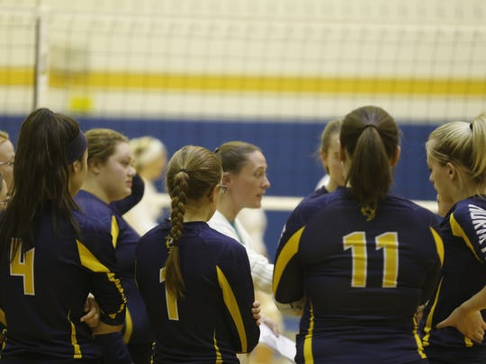 Harpursville coach Janey Avery talks to her team during a timeout on Tuesday against host Trumansburg.