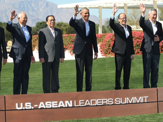 President Obama and leaders of ASEAN nations pose for a group photo on Tuesday, February 16, 2016 during the second day of the US-ASEAN Leaders Summit at Sunnylands in Rancho Mirage.