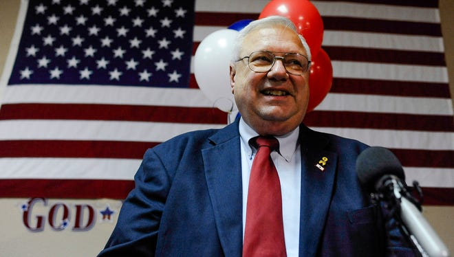 Bernie Herpin celebrates his victory in the election to recall Colorado State Sen. John Morse on Sept. 10.
