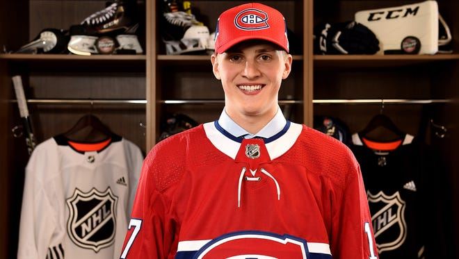 Voorhees native Cayden Primeau poses for a portrait after being selected 199th overall by the Montreal Canadiens.