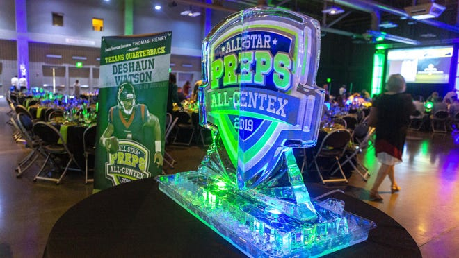 An ice sculpture greets the student athletes and their families entering 2019 The Best of All-Centex Preps awards event at the Palmer Events Center.