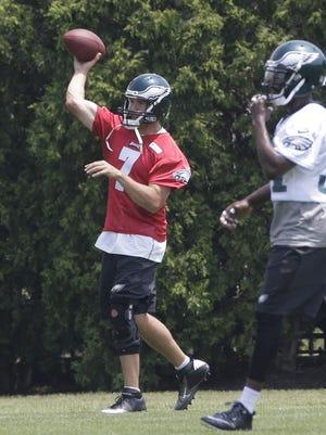 Eagles quarterback Sam Bradford participated in individual — but not team — drills during OTAs last week.