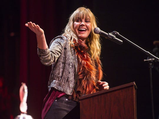 Grace Potter speaks after accepting the Governor's