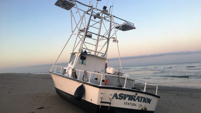 A commercial fishing boat ran aground Sunday morning near Ventura Harbor, authorities said.