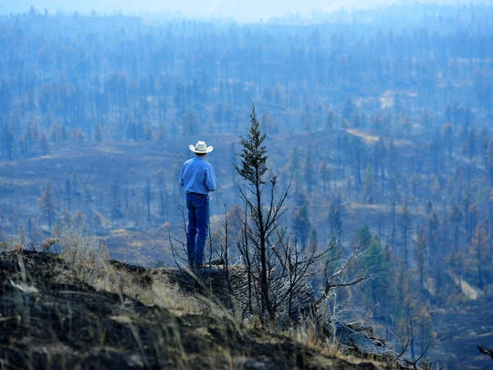 Tim Weyer of the Calf Creek Cattle Ranch tours his ranch, which was consumed by the Lodgepole Complex Fire in 2017. While he was able to save his home, much of his grazing land was burned in the fire leaving him struggling to find suitable grazing land for his 350 head of cattle.