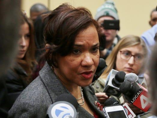 Flint Mayor Karen Weaver answers questions on Dec.