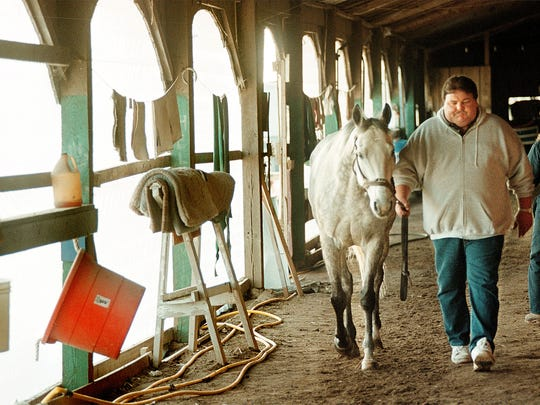 Horse trainer John Hancock walks his horse Ceasar's Creek around the barn after exercising him at Ellis Park in 1999.