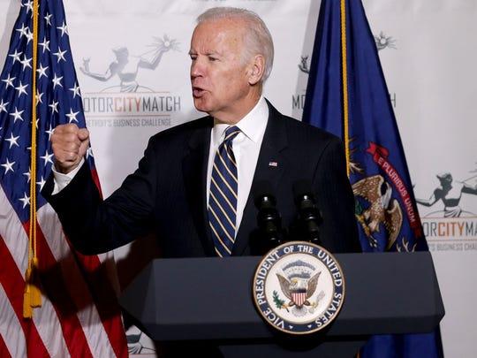 Vice President Joe Biden speaks at the Detroit School