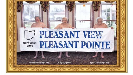 In this undated image provided by Pleasant Pointe Assisted Living, residents, from left, Wilma Purvis, 94, Jo Pyle, 90, and Sylvia Palcic, 87, pose for a photo that appears on the cover of the Barberton, Ohio facility's charity calendar. Money from the $12 calendars goes toward providing shoes for local children.