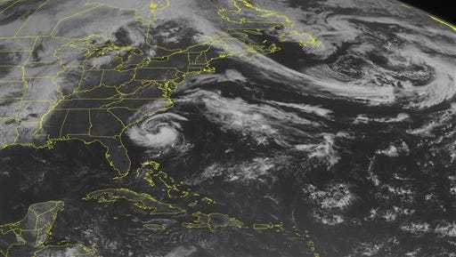 This NOAA satellite image taken Friday, May 8, 2015 at 09:45 AM EDT shows a ridge of high pressure building over the East. Underneath the ridge is a  development of a Sub Tropical Storm named Ana. The storm is slowing moving to the Northwest and expected to effect North and South Carolina coastline. The biggest effect from the storm will be heavy rains with winds up to 45 MPH. To the northeast is a cold front with a streak of clouds that extends from Canada to Maine and offshore. This is creating cooler conditions for Eastern New England. Most active weather remains in the Mid-West where thunderstorms are firing up a long a large cold front. (Weather Underground via AP)