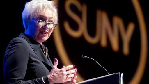 State University of New York Chancellor Nancy Zimpher delivers the State of the University address on Monday, Jan. 11, 2016, in Albany, N.Y. (AP Photo/Mike Groll)