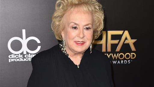 FILE - In this Nov. 1, 2015 file photo, Doris Roberts arrives at the Hollywood Film Awards in Beverly Hills, Calif. Family spokeswoman said Monday, April 18, 2016, that Roberts died overnight Sunday in her sleep in Los Angeles. She was 90.