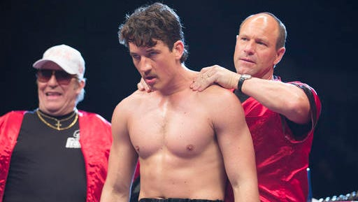 "In this image released by Open Road Films, Ciaran Hinds, from left, Miles Teller and Aaron Eckhart appear in a scene from the film, ""Bleed For This."""