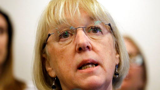"""FILE - In this Feb. 21, 2017, file photo, Sen. Patty Murray, D-Wash., speaks at a news conference at FareStart in Seattle. Women seeking abortions and some basic health services, including prenatal care, contraception and cancer screenings, would face restrictions and struggle to pay for some of that medical care under the House Republicans' proposed bill. Murray, the top Democrat on the Health, Labor, Education and Pensions Committee, says the legislation is a """"slap in the face"""" to women. She said it would shift more decisions to insurance companies. (AP Photo/Elaine Thompson, File)"""