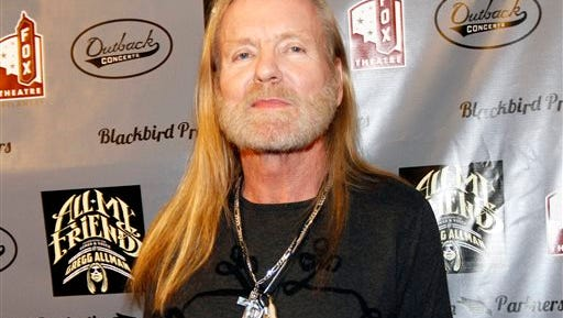 FILE - This Jan. 10, 2014 file photo shows musician Gregg Allman on the red carpet at All My Friends: Celebrating The Songs and Voice of Gregg Allman tribute in Atlanta.