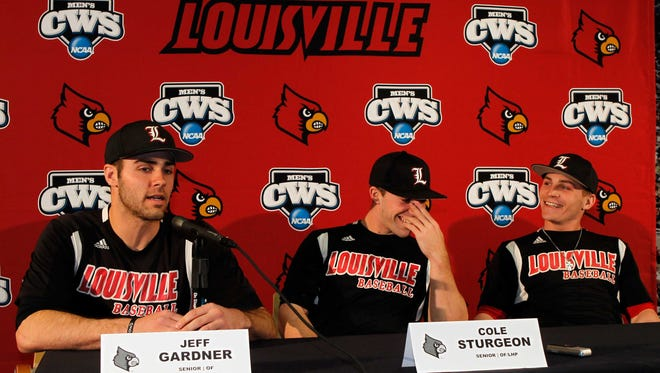 University of Louisville baseball players (LtoR) Jeff Gardner, Cole Sturgeon and Sutton Whiting addresses the media during the teams media day in the Omaha Room at Jim Patterson stadium in Louisville, Kentucky. February 10, 2013