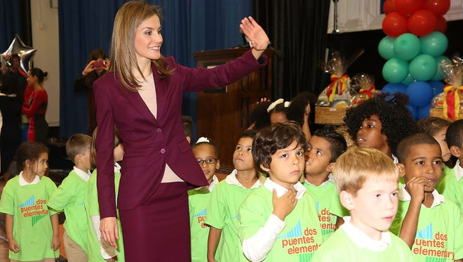 Queen Letizia of Spain visits the International Spanish Academies in New York City at International Spanish Academies on September 22, 2014 in New York City.