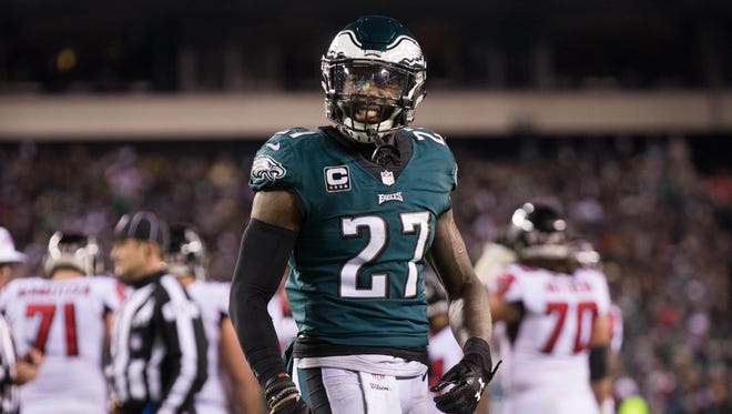 Philadelphia Eagles strong safety Malcolm Jenkins (27) reacts to a defensive stop against the Atlanta Falcons at Lincoln Financial Field.