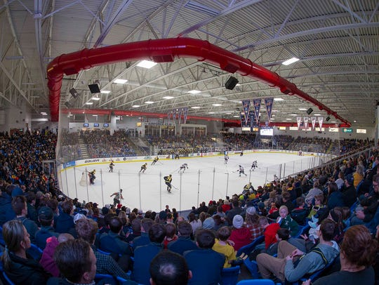 The large crowd at USA Hockey Arena in Plymouth was
