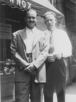 Arthur Q. Smith (James Pritchett), right, and Archie Campbell outside the WNOX studios on Gay Street in Knoxville.