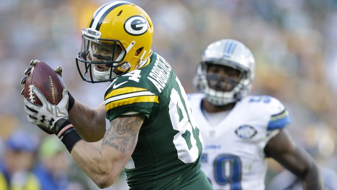 Green Bay Packers' Jared Abbrederis pulls down a reception in the fourth quarter.   The Green Bay Packers host the Detroit Lions Sunday, November 15, 2015, at Lambeau Field in Green Bay, Wis.  Dan Powers/P-C Media
