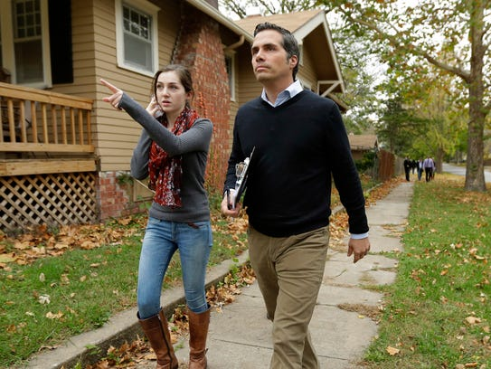 Independent Kansas Senate candidate Greg Orman walks