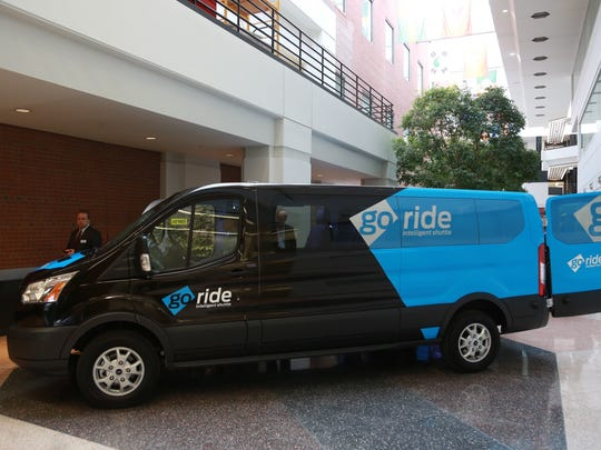 A Go Ride Intelligent Shuttle Beta is seen as part of the Ford Smart Mobility at the Ford Research and Innovation Center in Dearborn on Thursday December 10, 2015.