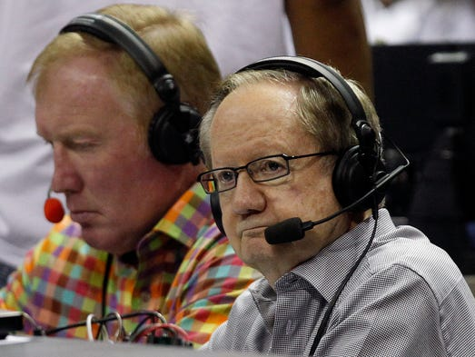 May 9, 2010: Tim Kempton (left) and Al McCoy call Game 4 of the NBA Western Conference semifinal playoff game against the Spurs at the AT&T Center in San Antonio.